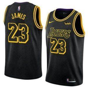 Men's Lakers LeBron James Black City Jersey 23